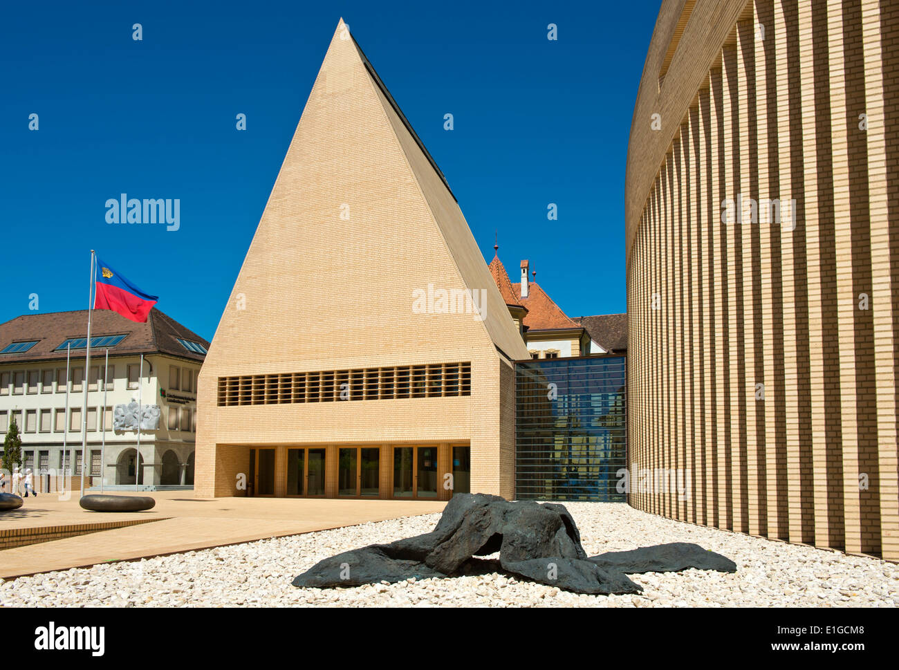 Sculpture Welwitschia at the House of Parliament building in Vaduz, Principality of Liechtenstein, Europe - Stock Image