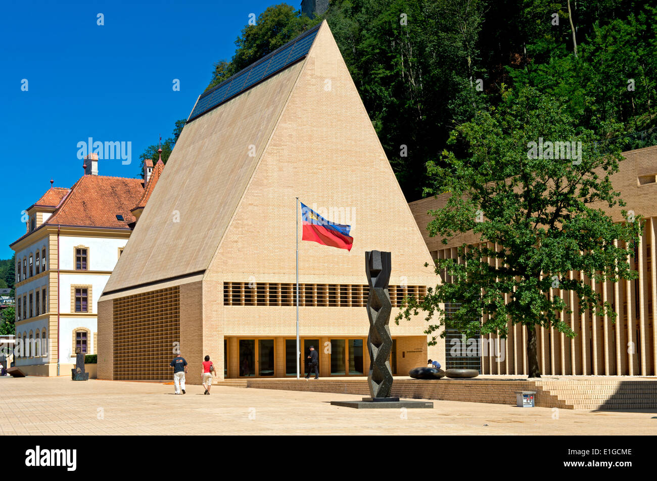 The House of Parliament building in Vaduz, Principality of Liechtenstein, Europe - Stock Image