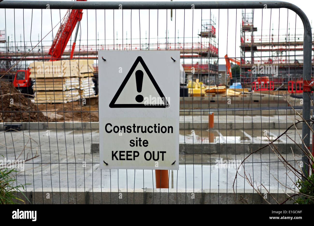 keep out sign at a construction site - Stock Image