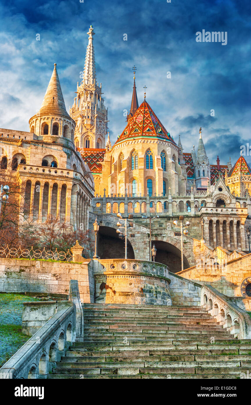 St. Matthias Church and Fishermans bastion in Budapest, Hungary. - Stock Image