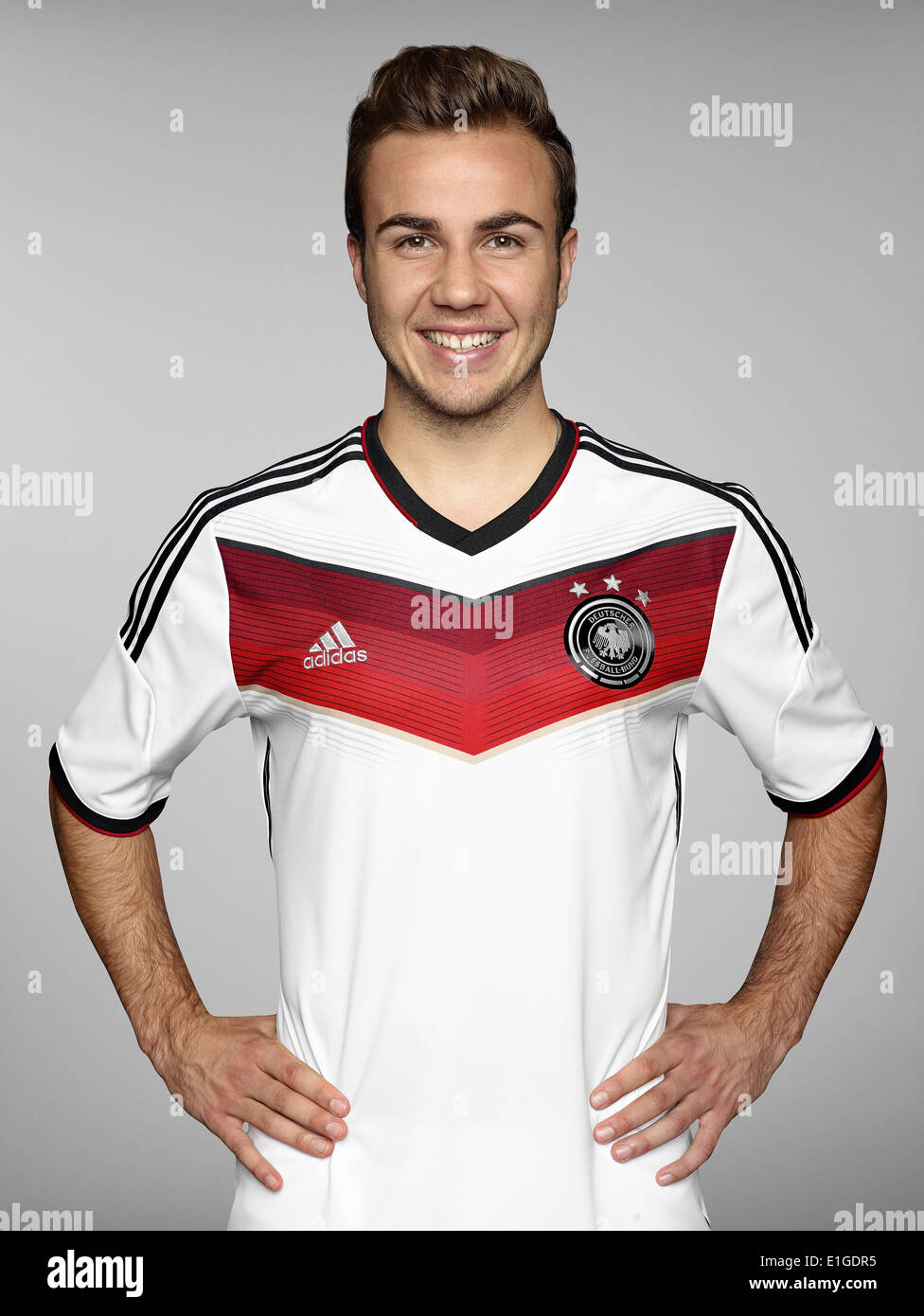 FIFA World Cup 2014 - photocall Team Germany, 24 May 2014 in Passeier, Italy: Mario Goetze. Photo credit: Bongarts/Getty Images/German Football Association/dpa (editorial use only) - Stock Image