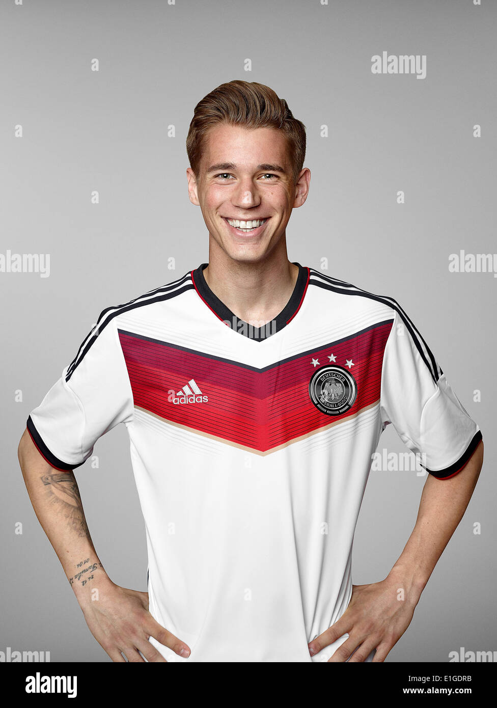 FIFA World Cup 2014 - photocall Team Germany, 24 May 2014 in Passeier, Italy: Erik Durm. Photo credit: Bongarts/Getty Images/German Football Association/dpa (editorial use only) - Stock Image