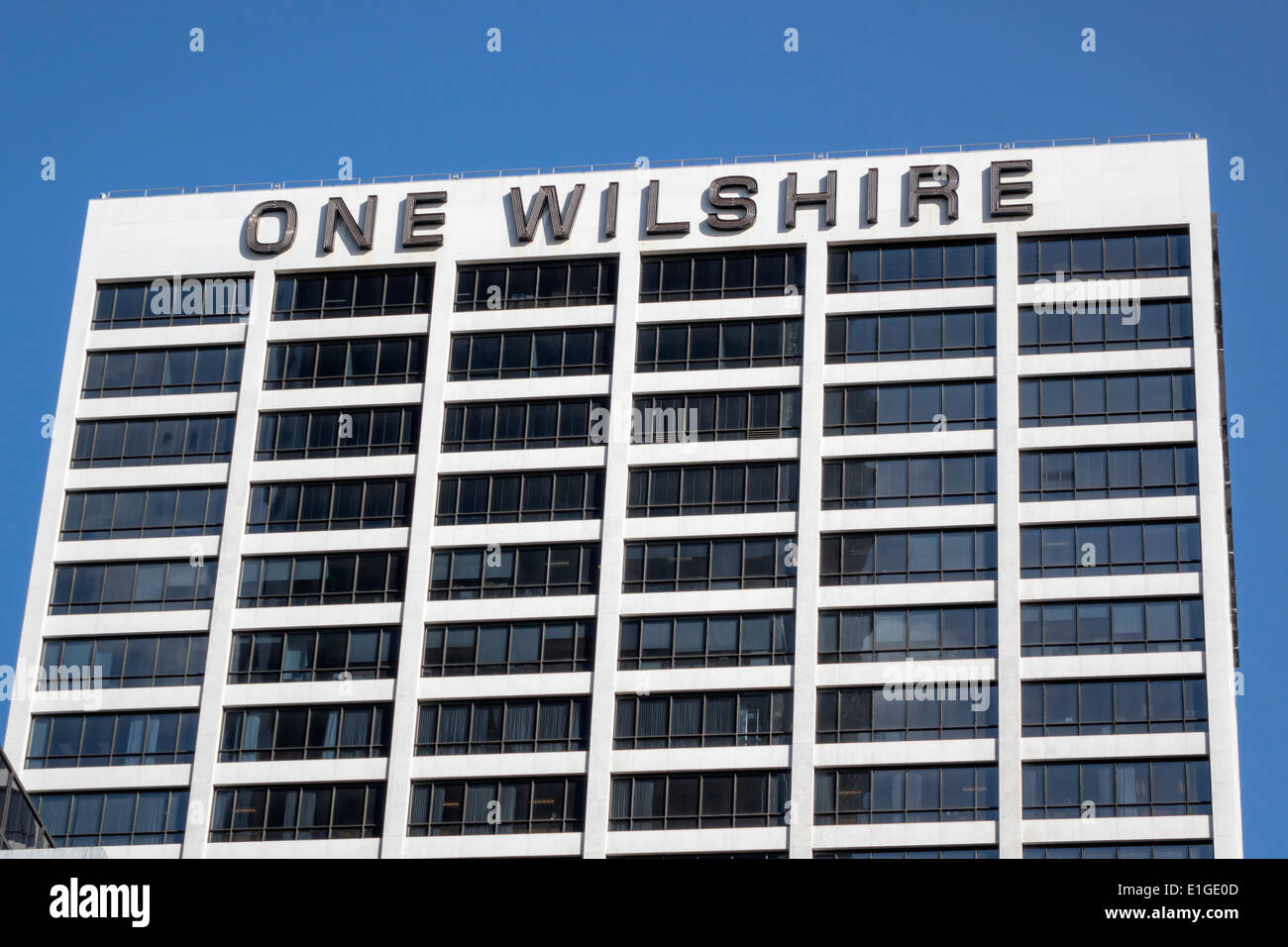 Los Angeles California CA L.A. Financial District One Wilshire Building skyscraper office building sign signage modern architecture Skidmore Owings gl - Stock Image