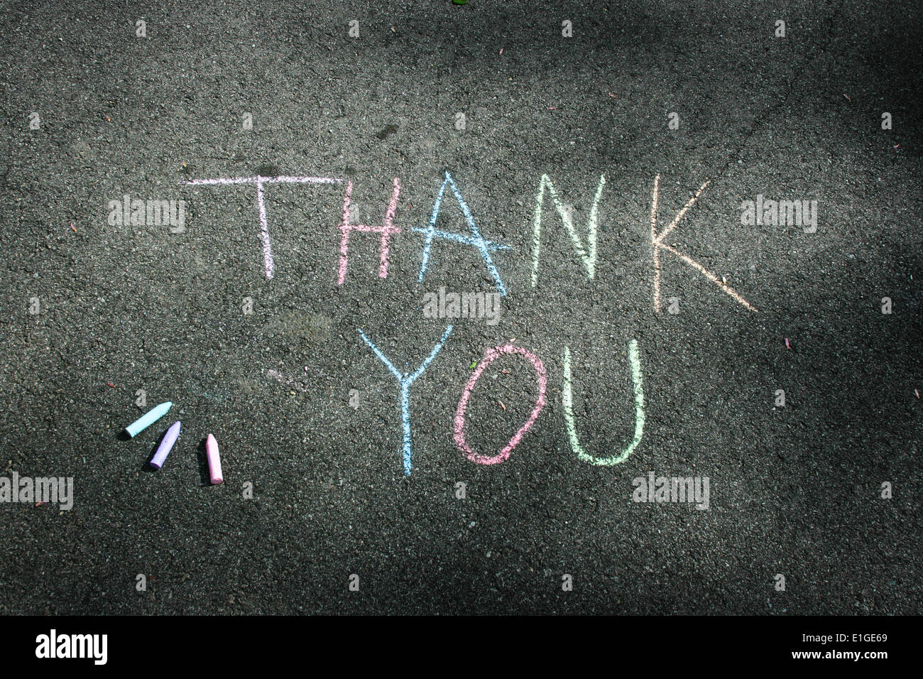 THANK YOU Sidewalk Chalk Message - Stock Image