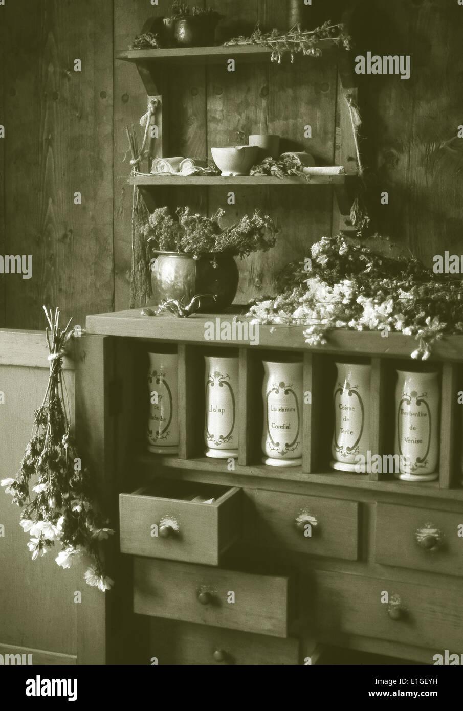 Apothecary jars,Port Royal Habitation,Nova Scotia Stock Photo
