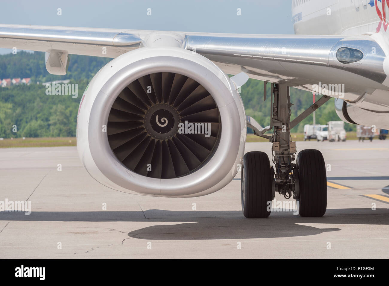 Jet engine of a parked Boeing 737 aircraft at Zurich international airport. - Stock Image