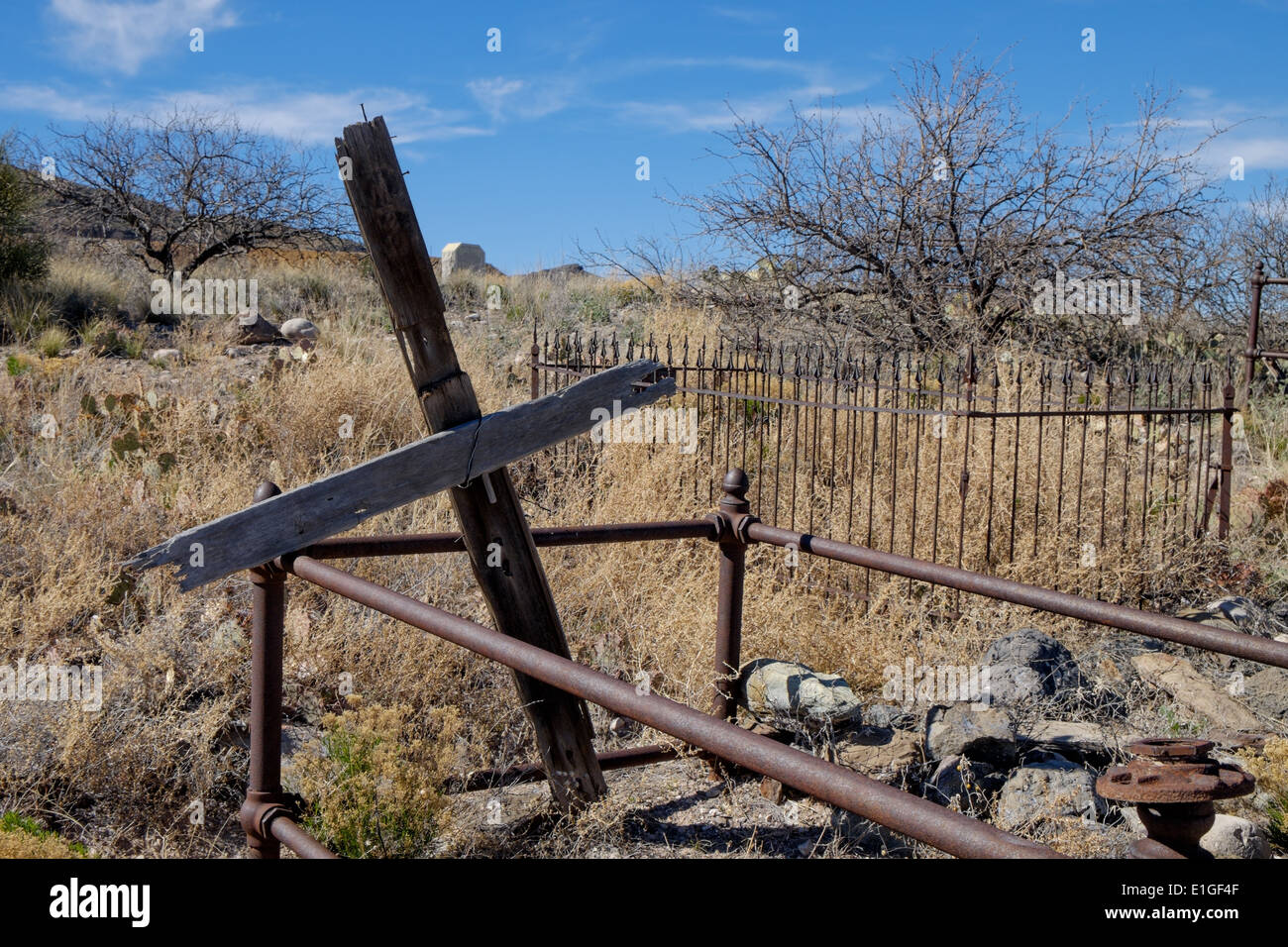 An old miner's grave in the cemetery at the old copper mining town of Jerome, Arizona, USA. - Stock Image