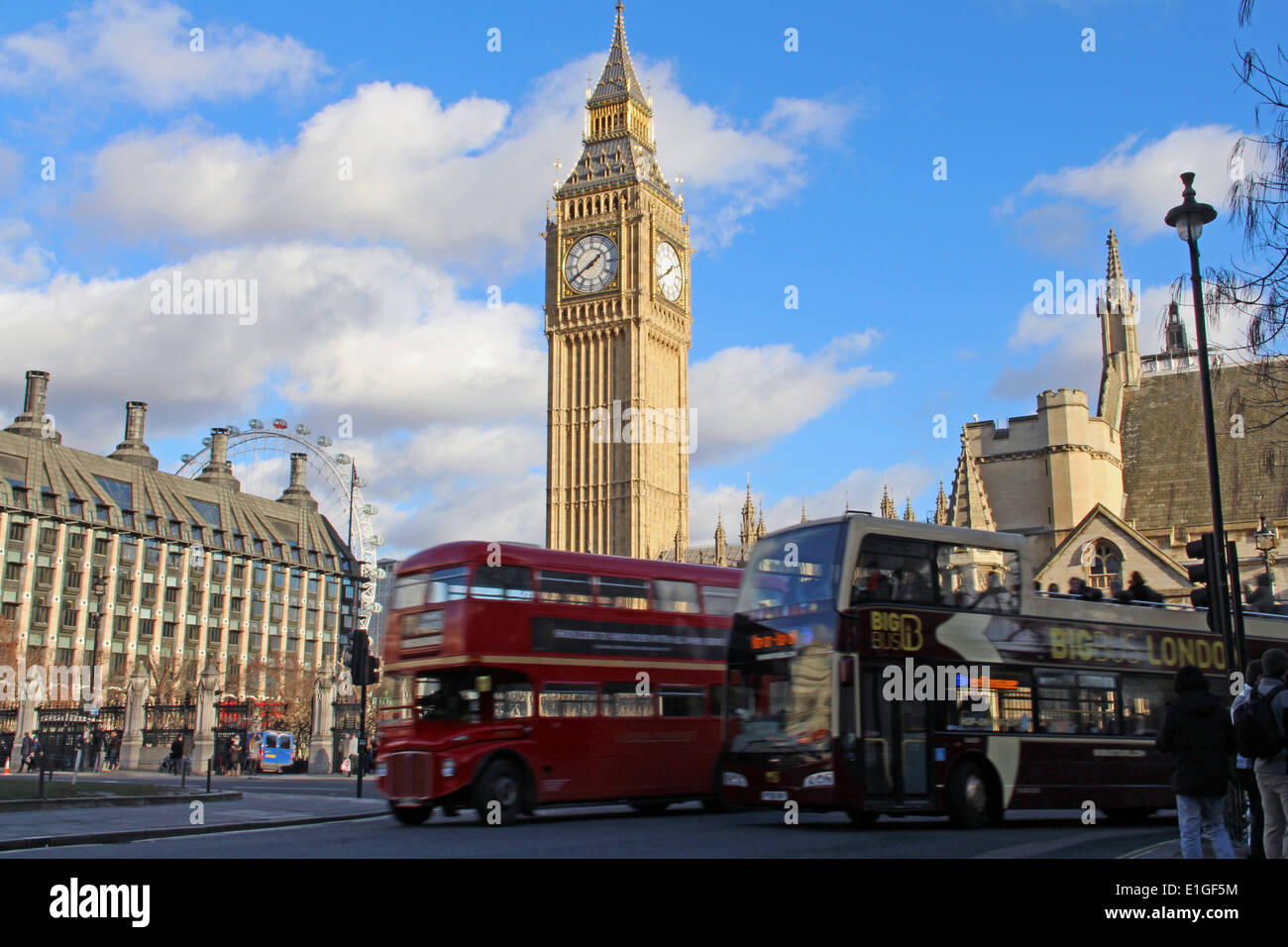 London: Palace of Westminster with Big Ben (Elizabeth Tower), 2014/01/11 Stock Photo