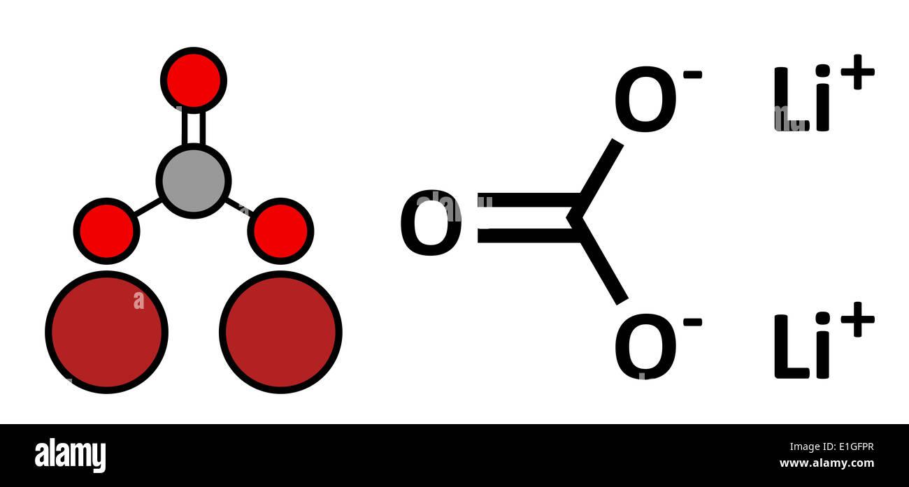 Lithium Carbonate Li2co3 Bipolar Disorder Drug Chemical Structure