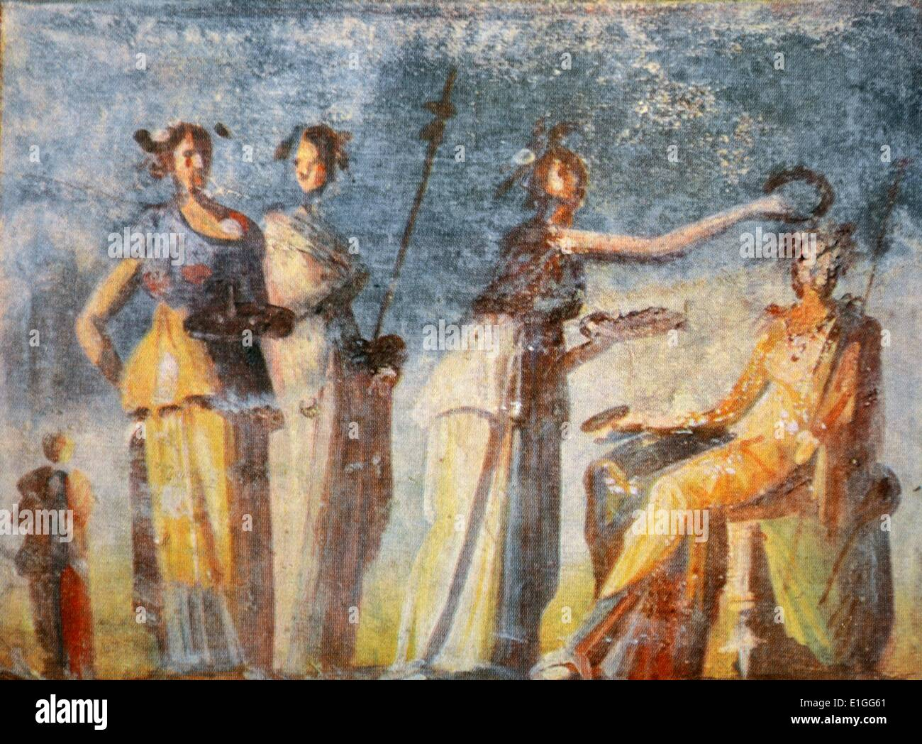 Greek fresco depicting a coronation of a cult leader from the Casa d'Adonide. Dated 1st Century B.C. - Stock Image
