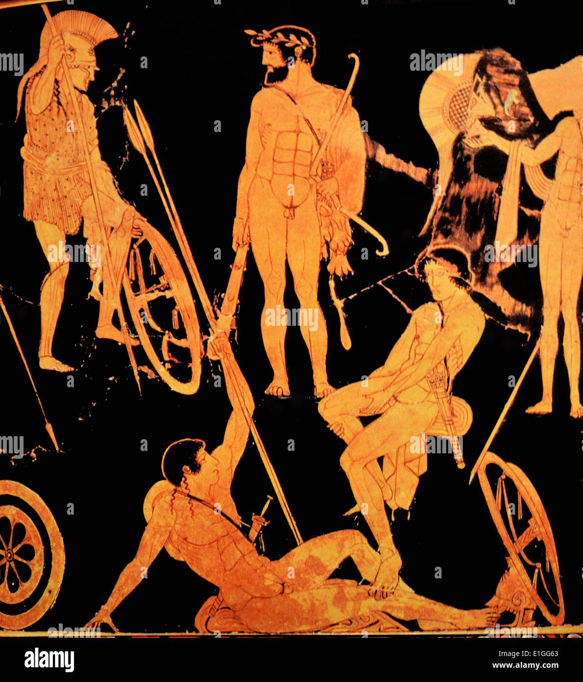 Detail from a Greek attic krater depicting Heracles and Argonauts from Orvieto, Italy, 475 B.C. - Stock Image