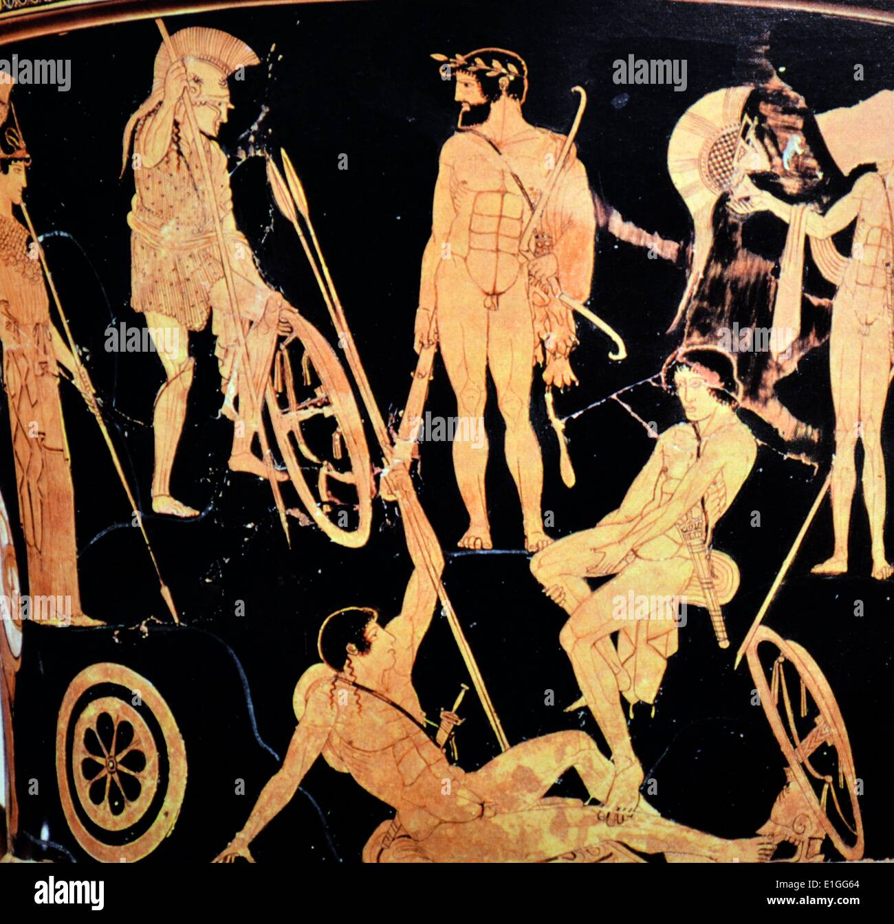 Greek attic krater depicting Heracles and Argonauts from Orvieto, Italy, 475 B.C. - Stock Image