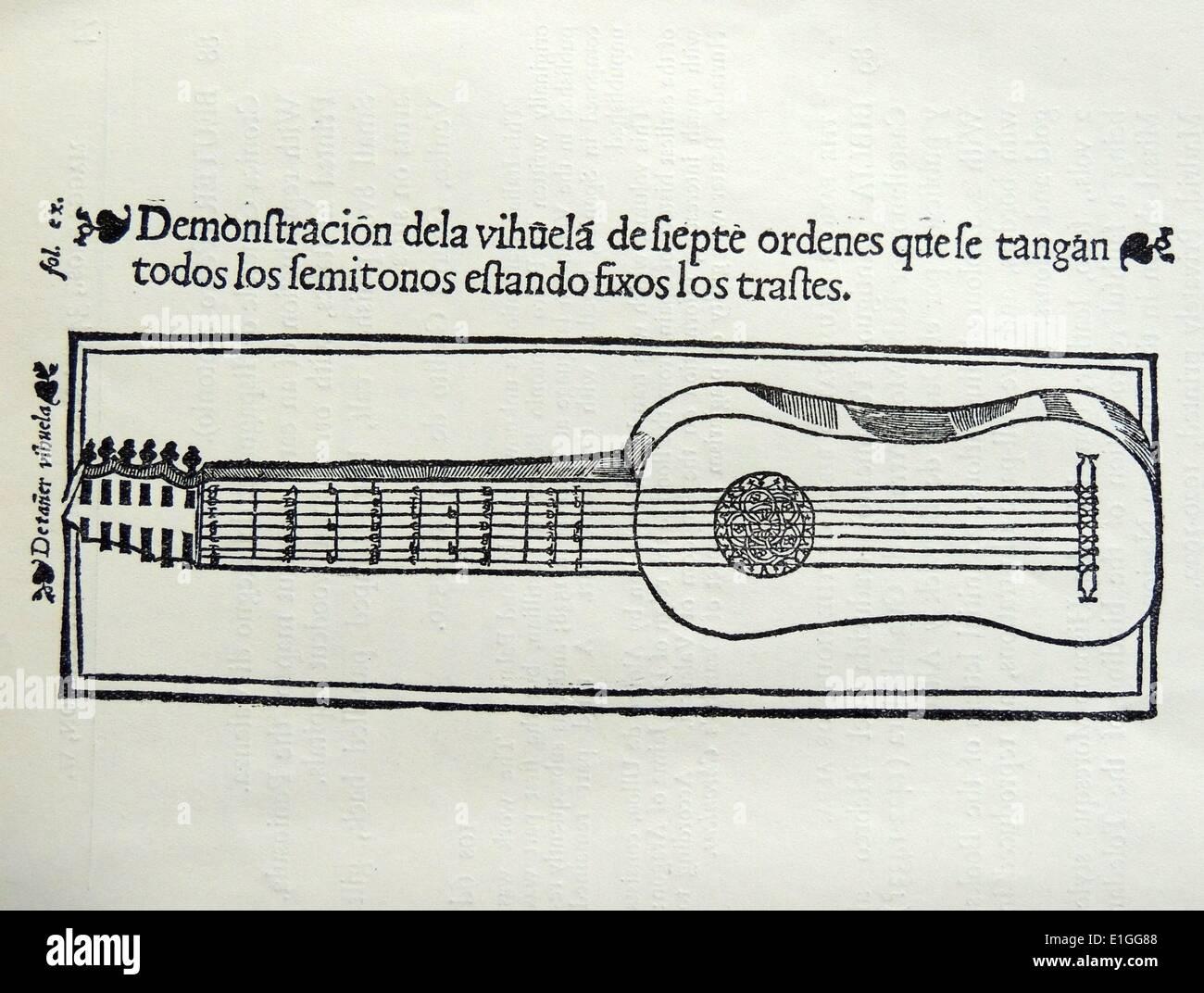Woodcut from Bermudo Declaracio de Instrumentos Musicales. Oussuna. Dated 1555 - Stock Image