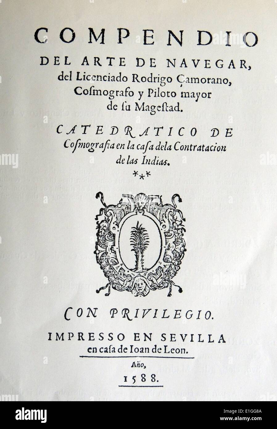 Title Page from Zamorano's Arte de Navegar. Dated 1588 Stock Photo