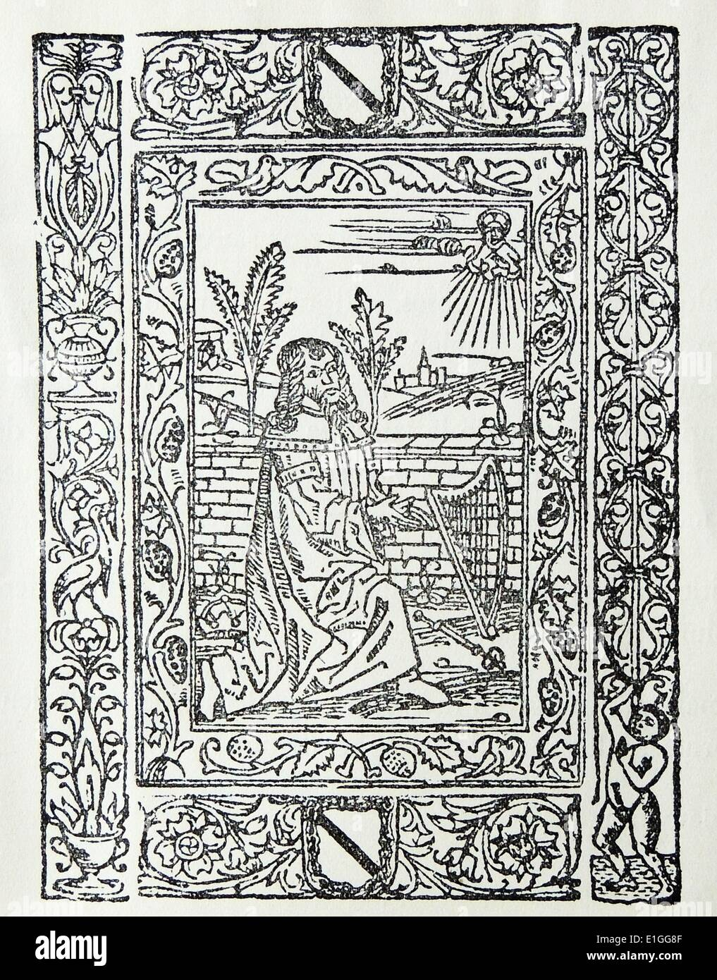 Illustration from the Title-Page from Devotissima Exposicion Sobre el Psalmo de Miserere. Dated 1578 - Stock Image