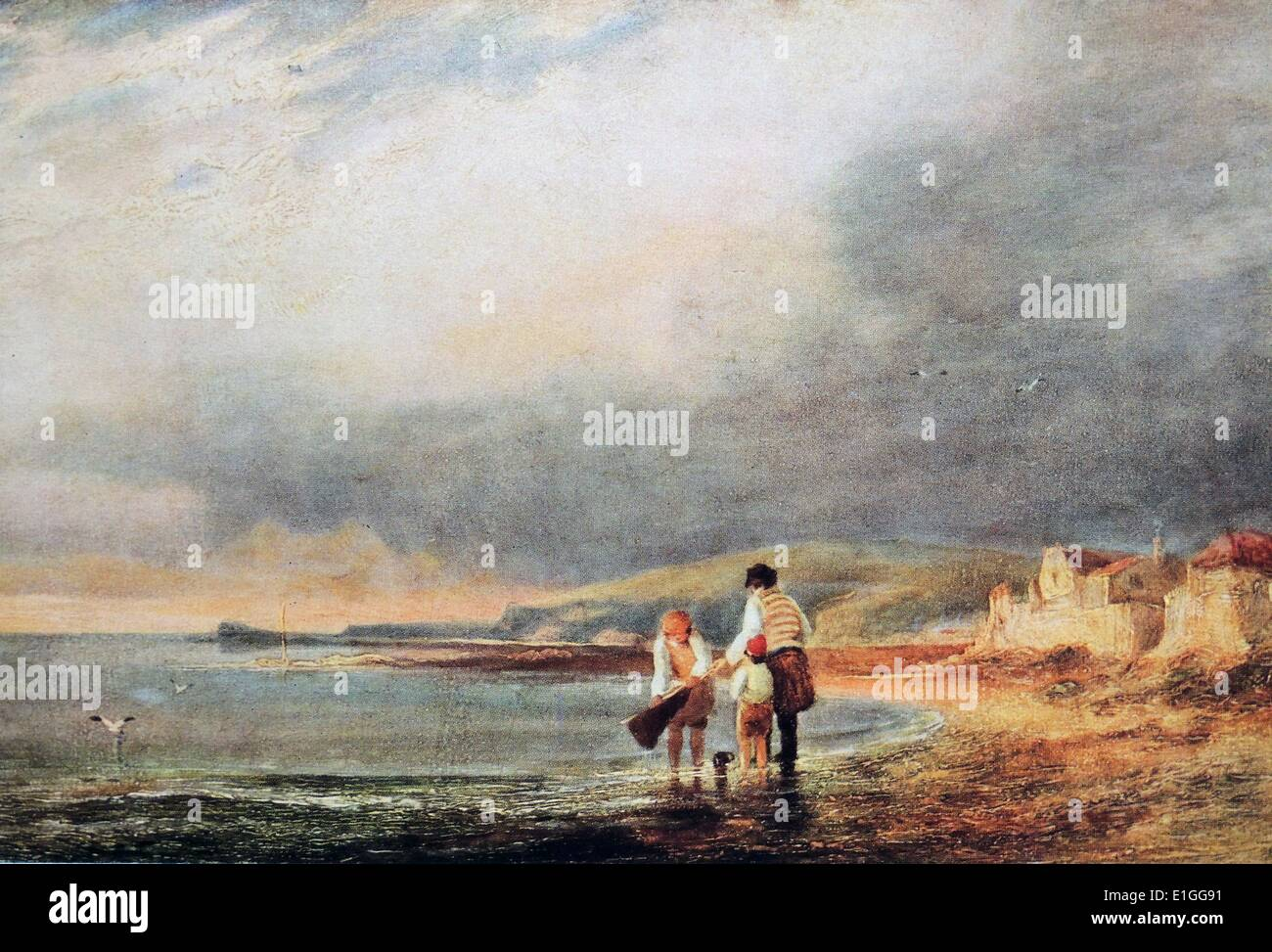 Oil Painting of a Coast Scene. By John Wilson Ewbank (1799 - 1847) an English Landscape painter.  Dated 1820 - Stock Image
