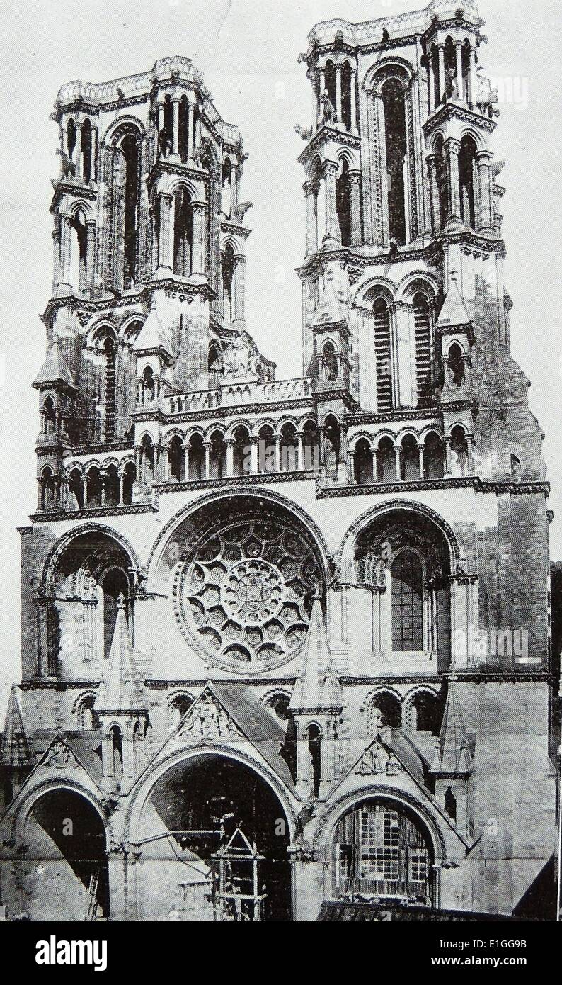 Photograph of the exterior of the Cathedral of Laon.  It was the seat of the Archdiocese of Amiens and where the Stock Photo