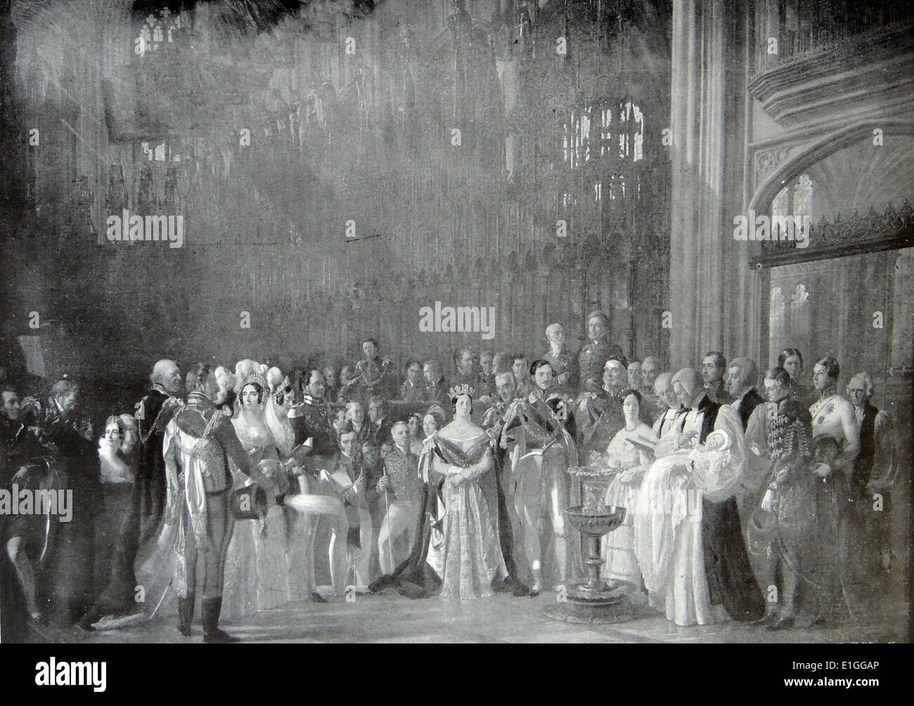 Illustration depicting the christening of the Prince of Wales in St. Georges Chapel, Windsor. Dated 1842 - Stock Image