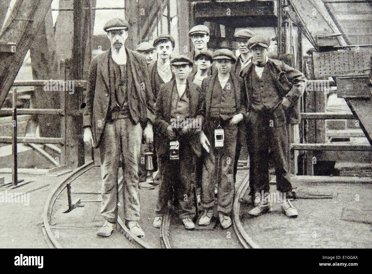 Photograpgh of Pit Workers - Stock Image
