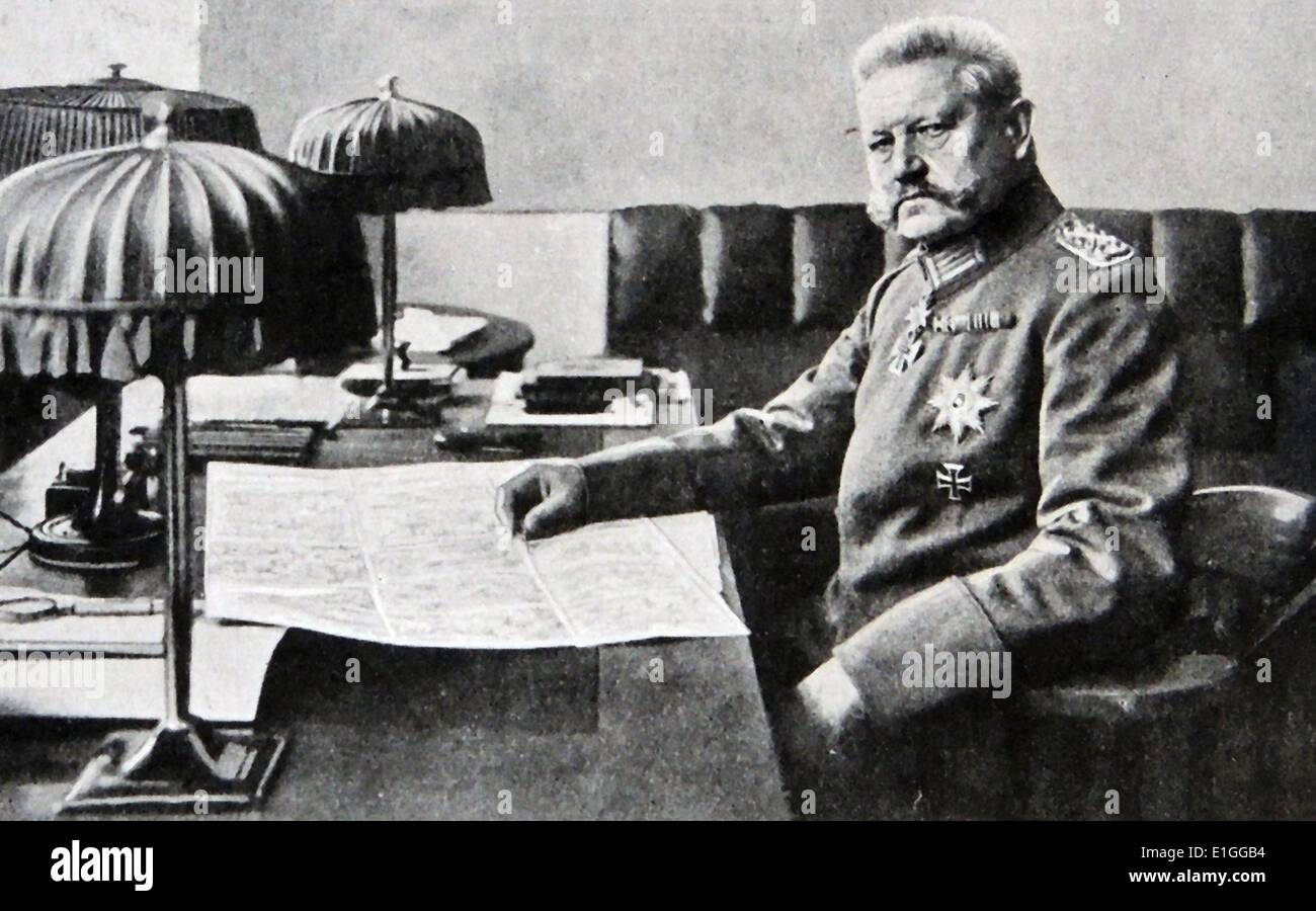 Photograph of Paul Von Hindenburg (1847 - 1934) The second President of Germany and Prussian-German field Marshal. Dated 1917 - Stock Image