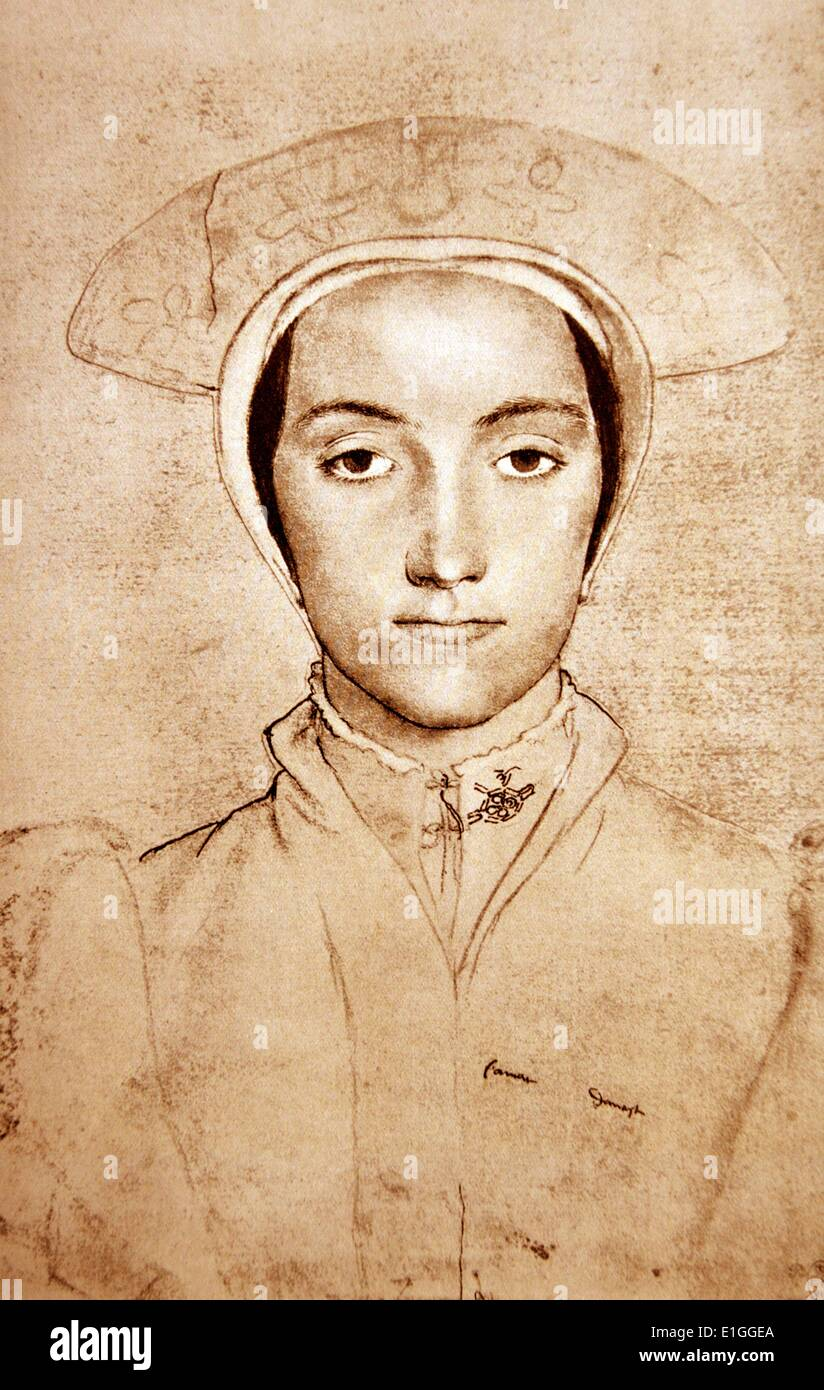 portrait of an unknown woman, by Hans Holbein the Younger (c. 1497-1543) - Stock Image
