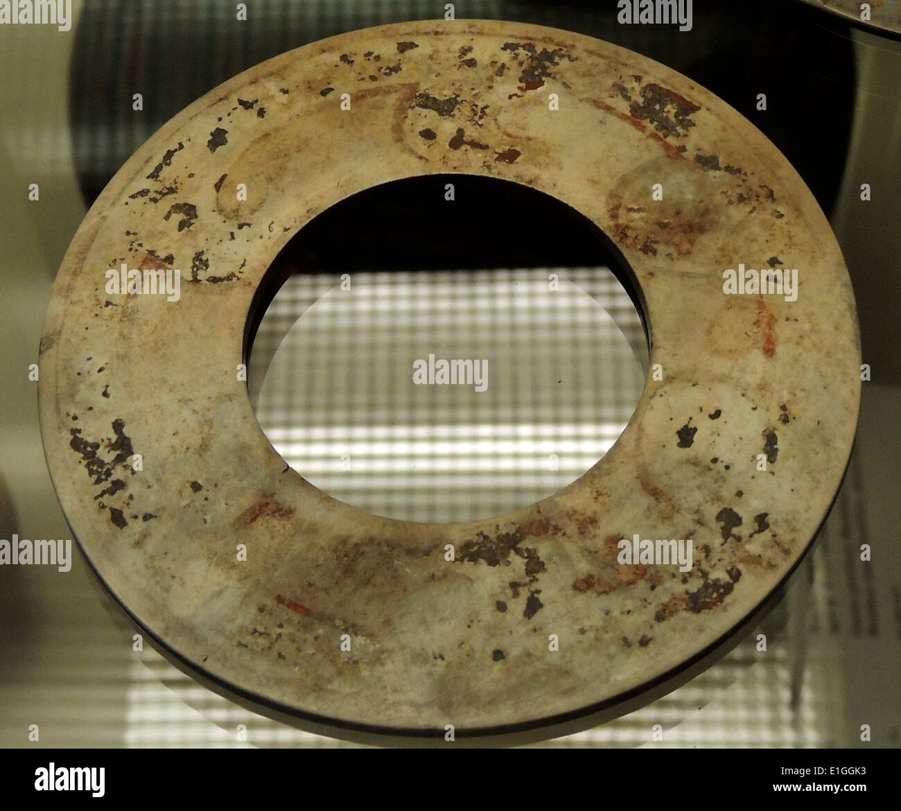 Two jade disc, bi Shang dynasty, 12th-11th century BC. - Stock Image