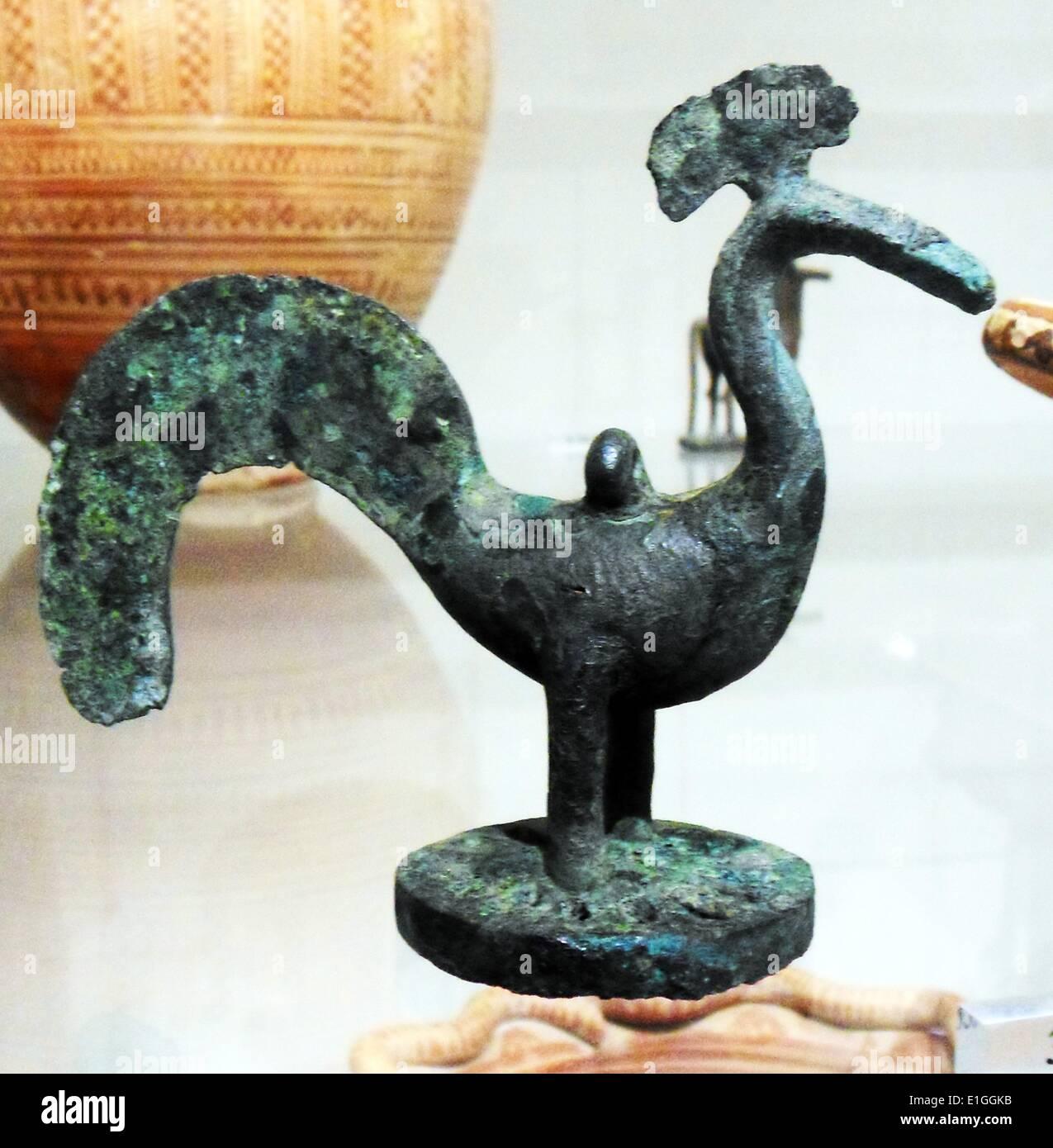 Bronze bird. Greek, (Geometric), ca 750-700 B.C. - Stock Image