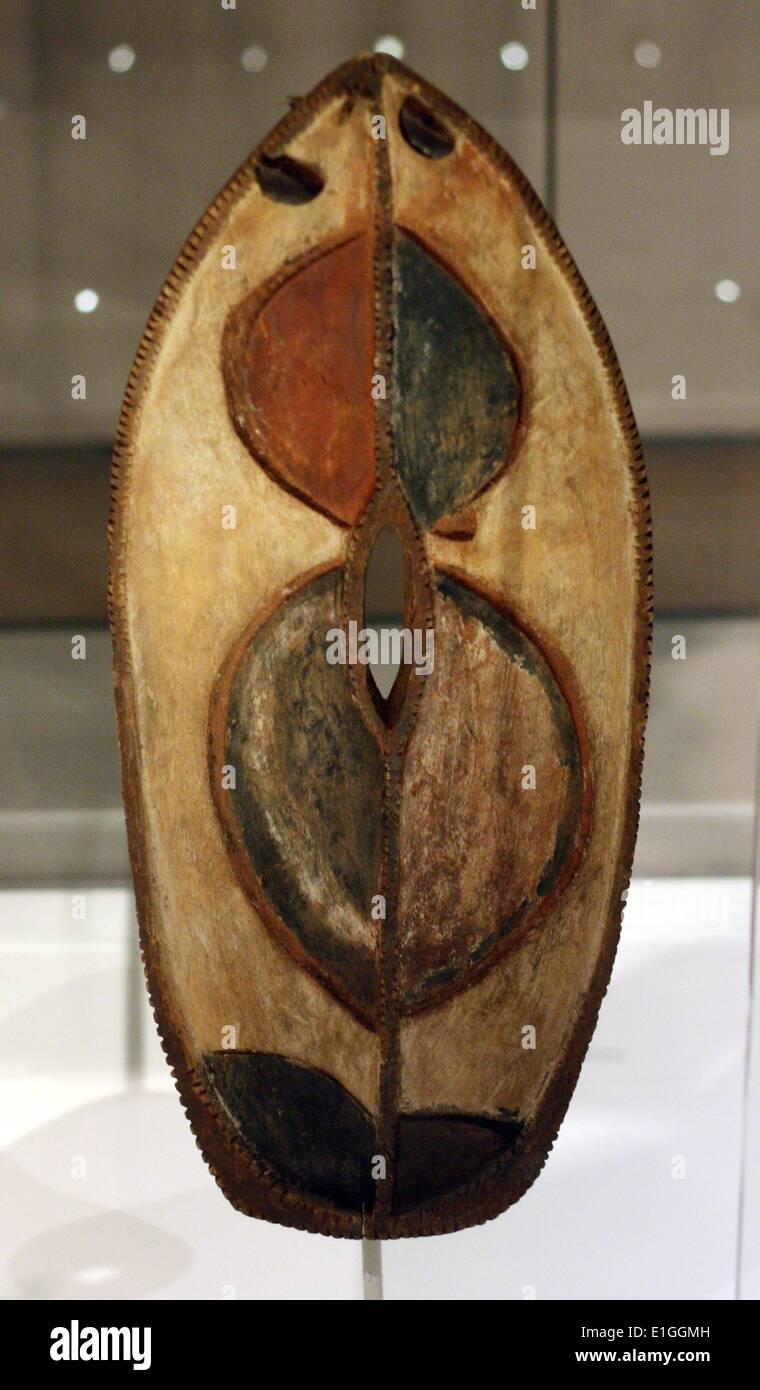 Dance shields (ndomi). Wood, cloth, metal, beads and pigment, Kikuyu people, Kenya.  20th century. - Stock Image