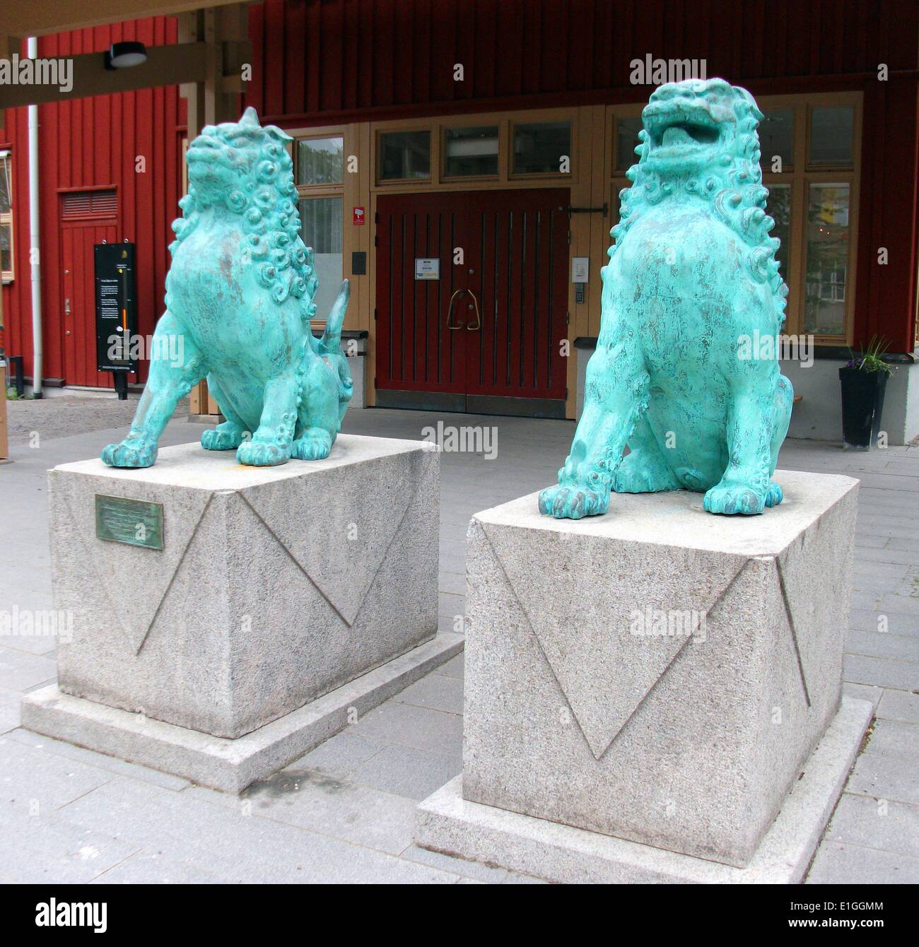 Guardian blue glazed lions from japan gifted to the city of Stockholm, sweden 1938 - Stock Image