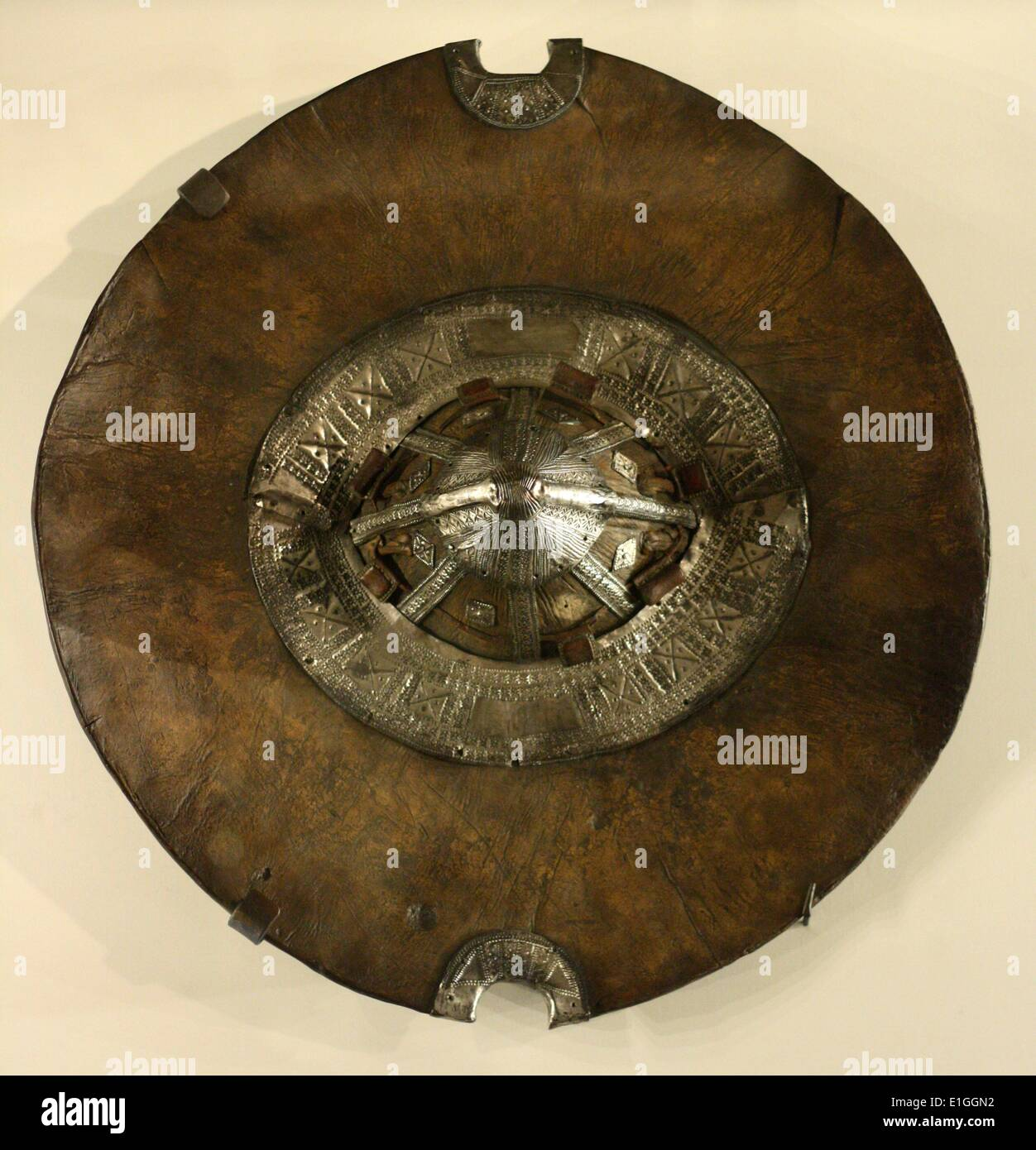 African metalwork shield from the Beja people in Sudan, 19th century - Stock Image