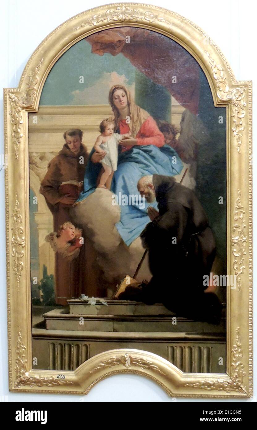The Madonna appearing to St Anthony of Padua and St Francis - Stock Image