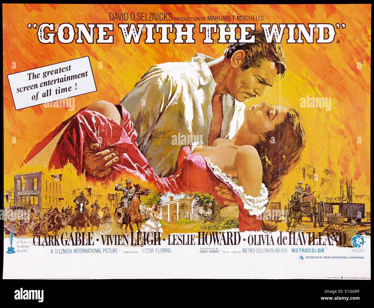 'Gone with the Wind' a 1939 American epic historic romance film adapted from Margaret Mitchelle's Pulitzer-winning novel - Stock Image