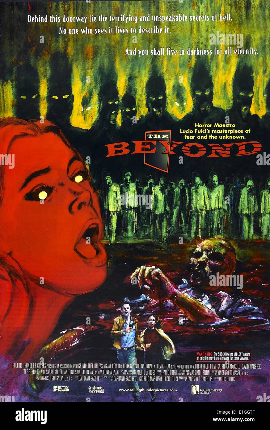 'The Beyond' a 1981 Italian horror film directed by Lucio Fulci. - Stock Image