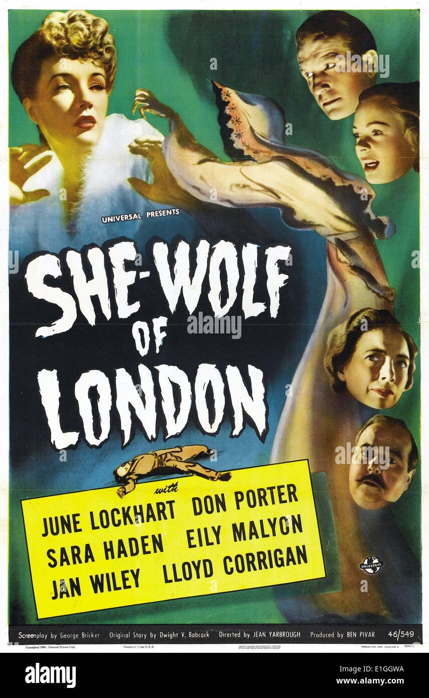 'She Wolf in London', 1946 horror film starring June Lockhart. - Stock Image