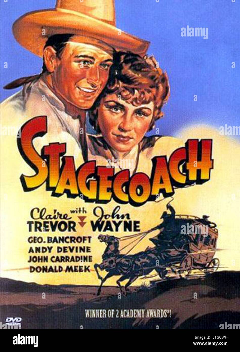 'Stagecoach', a 1939 film starring Claire Trevor and John Wayne. - Stock Image