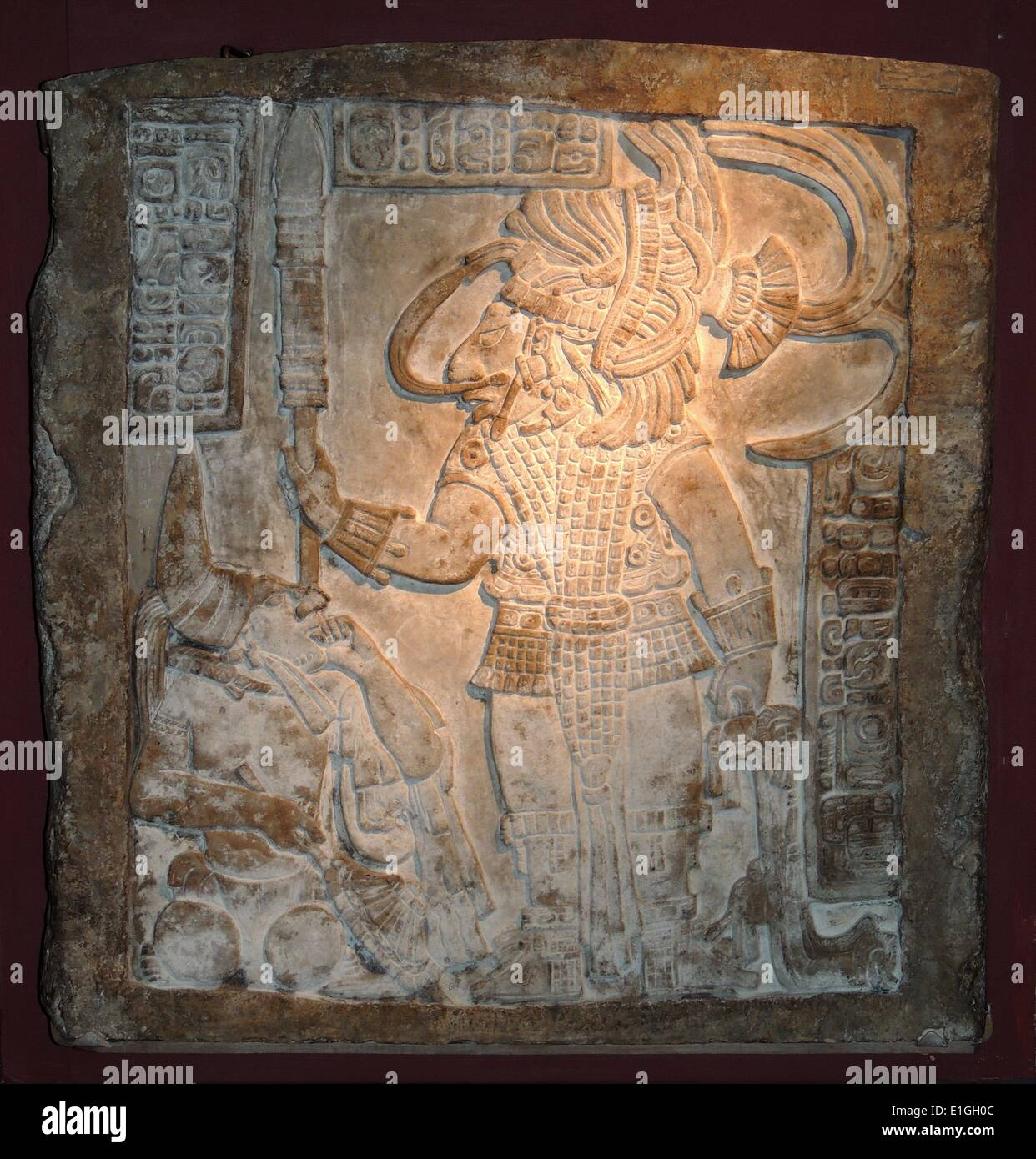 Maya, about AD 755-70.  The ruler, Bird Jaguar, stands over a captive noble - Stock Image