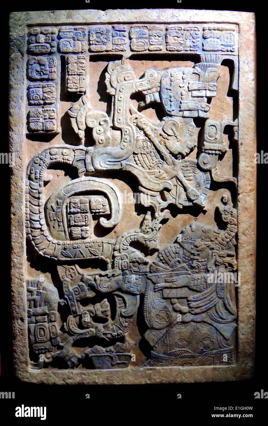 Maya, about AD 725. On the second lintel from Structure 23  at Yaxchilan - Stock Image