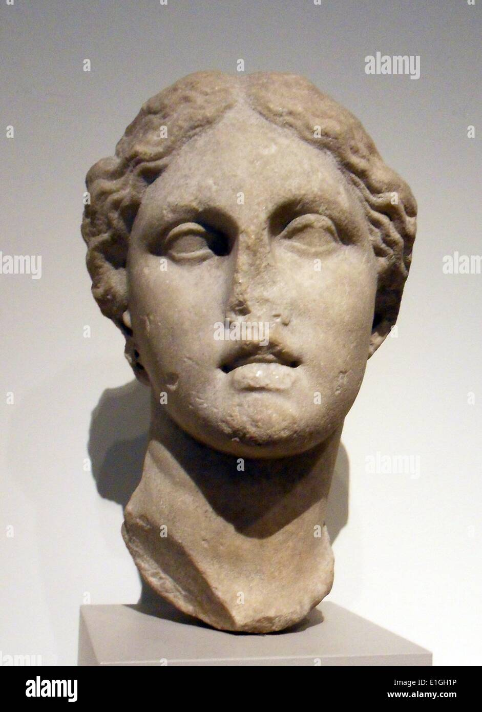 Marble head of a goddess.  Greek, Hellenistic, 3rd or 2nd century B.C. - Stock Image