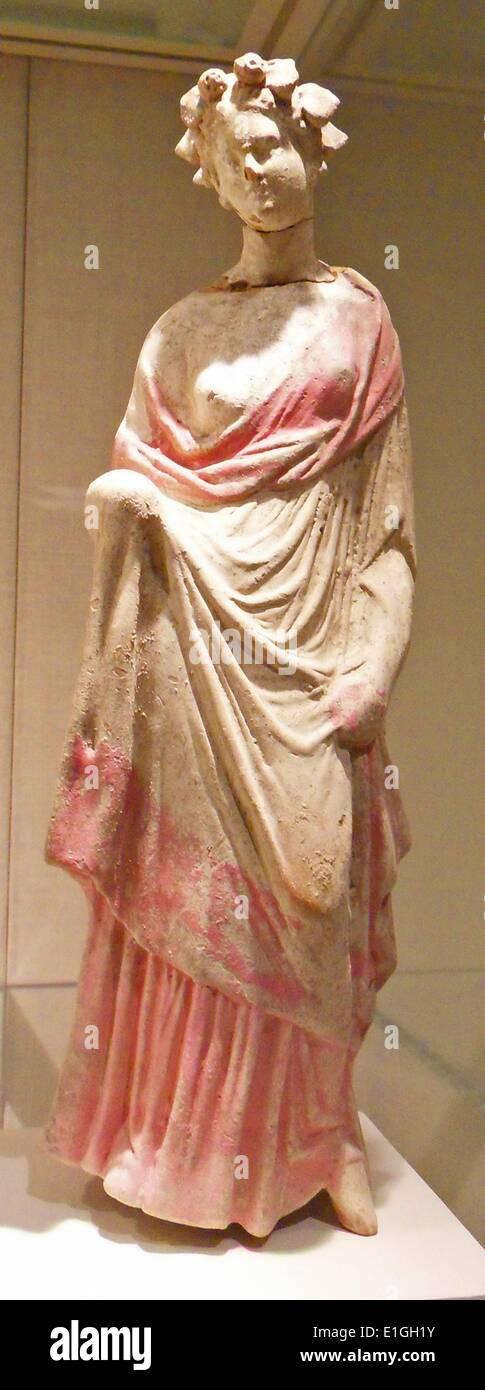 Terracotta statuette of a woman, Greek, South Italian, Tarentine, early 3rd century B.C. - Stock Image