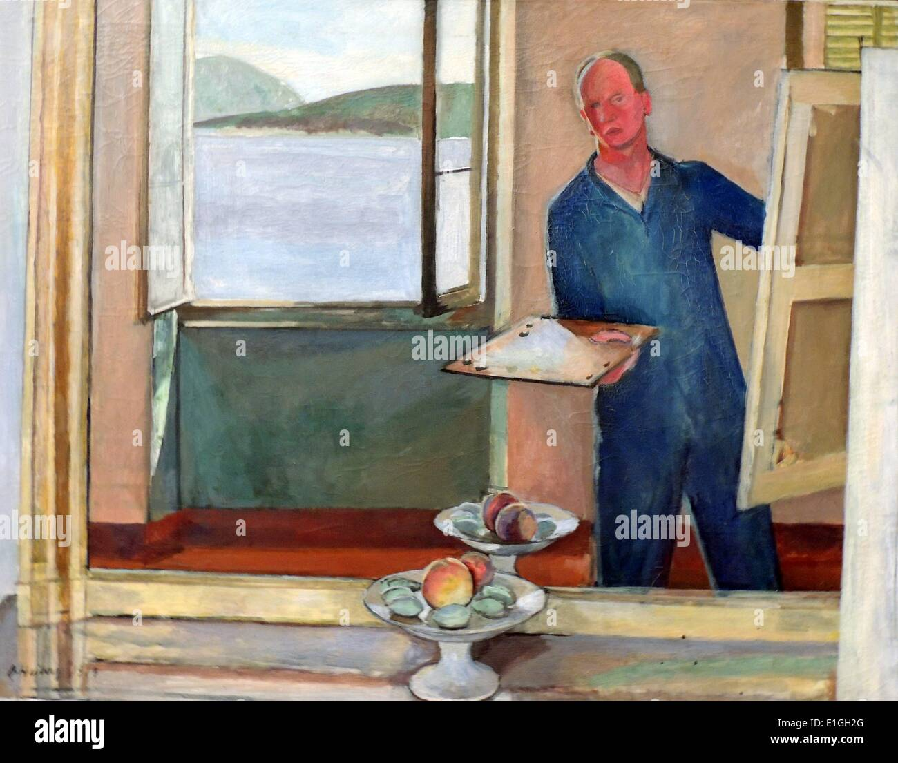 Self-portrait at the Easel, 1919 by Jean Heiberg (1884-1976), Oil on canvas. - Stock Image