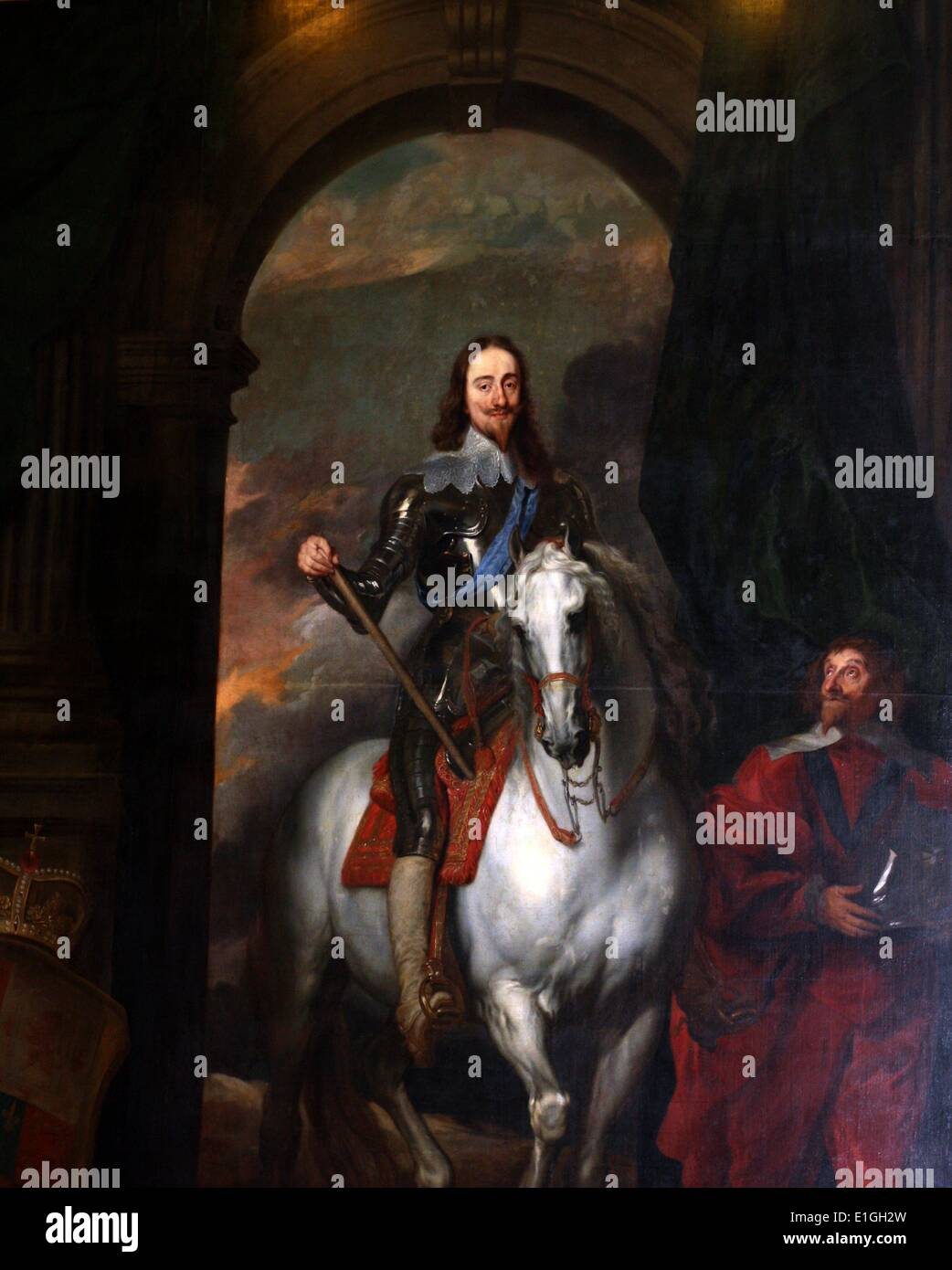 King Charles I of England on horseback.  One of several versions of a painting by Anthony Van Dyke. - Stock Image