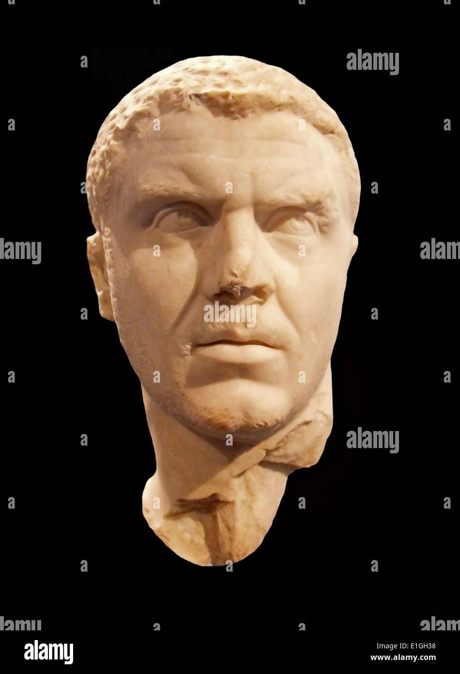 Marble portrait of the emperor Caracalla.  Roman, Severan period, A.D. 212-217 - Stock Image