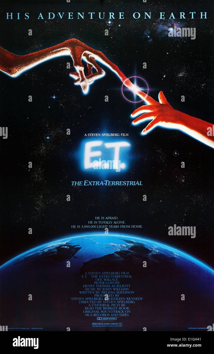'E.T.' (the Extra-Terrestrial), a 1982 American science fiction film starring Henry Thomas, Dee Wallace, Peter Coyote and - Stock Image