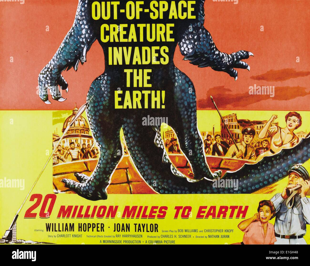 '20 million miles to earth' a 1957 American science fiction film starring William Hopper and Joan Taylor. - Stock Image
