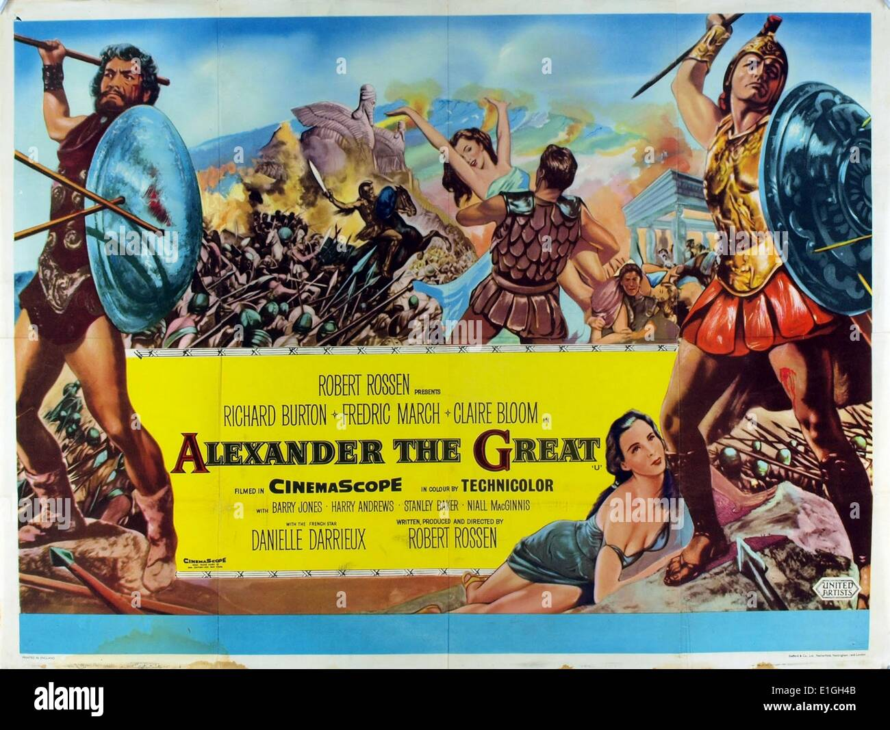 'Alexander the Great' a 1956 American epic film about the life of Macedonian general and King Alexander - Stock Image