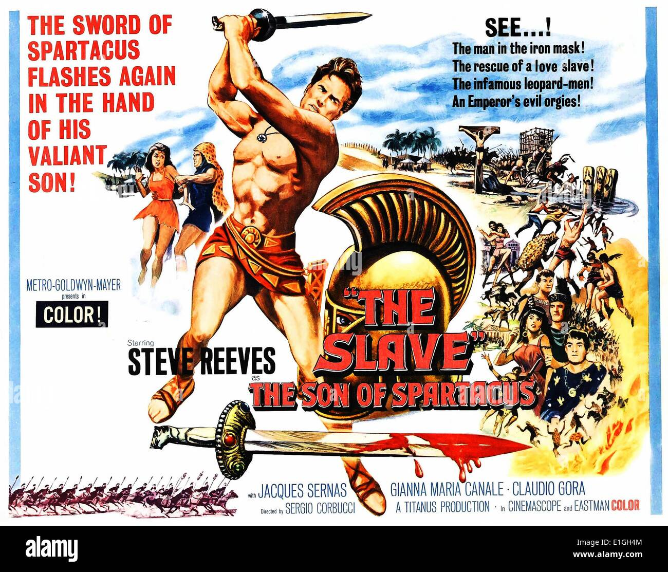 'The Slave, The Son of Spartacus' starring Steve Reeves a 1962 Italian peplum film. - Stock Image