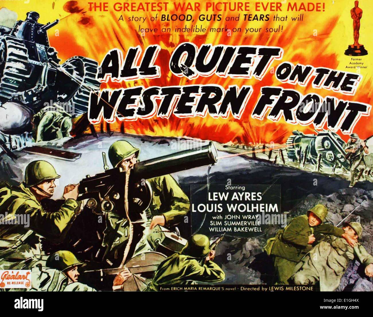 'All Quiet on the Western Front' starring Lew Ayres and Louis Wolheim a 1930 American war film. - Stock Image