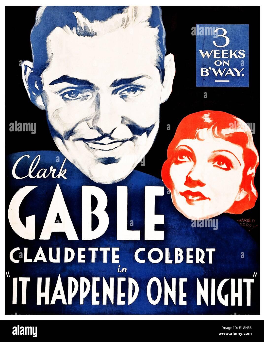 'It Happened One Night' starring Clark Gable and Claudette Colbert. Winner of all 5 major 1934 Oscars. - Stock Image