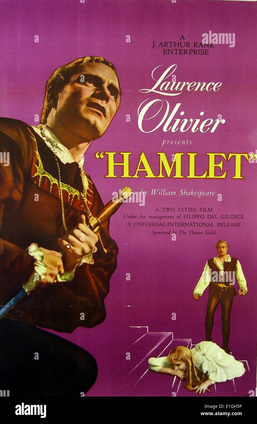 Laurence Olivier 'Hamlet'.  Hamlet a 1948 British film adaptation of William Shakespeare's play. - Stock Image