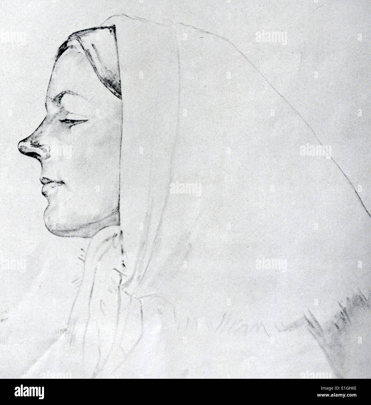 portrait of augusta Bjornson by Olaf Leonhard Gulbransson (26 May 1873 in Oslo – 18 September 1958 in Tegernsee, Germany). he - Stock Image